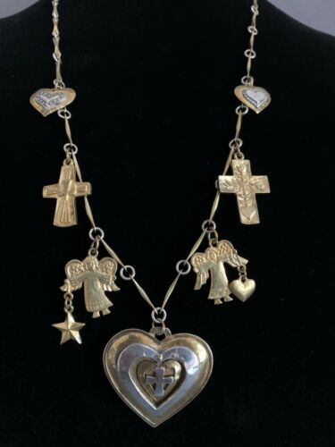 JEEP COLLINS Sterling Brass Necklace Angels Hearts Crosses Heart Cross Shadowbox