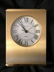 Tiffany & Co. Table & Desk or Mantle Clock Swiss Heavy Solid Brass