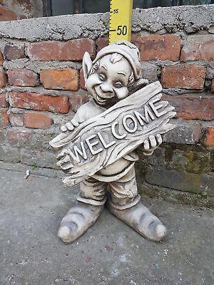 XXL Stein Figur Gnom Welcome Massive große Troll Wichtel aus Steinguss gebraucht kaufen  Erndtebrück