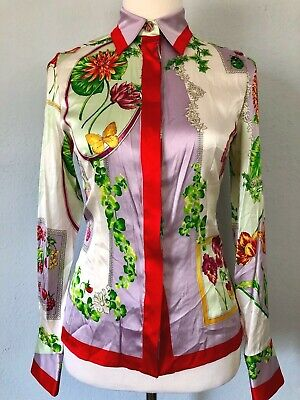 *38*4*XS* VERSACE stretch silk shirt dress blouse tunic top jacket made in ITALY