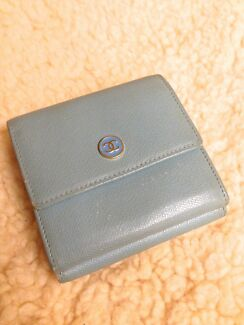Quick Sale auth CHANEL blue leather trifold wallet purse