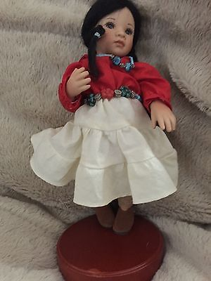 "Collectible doll Paulinette ""Shoshone"" LE 21 of 1,000 porcelain COA stand box"