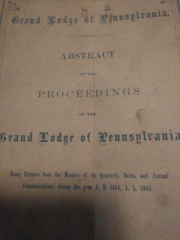 RARE 1865 CIVIL WAR Masonic Book 1864 Annual Proceedings Freemasons Pennsylvania