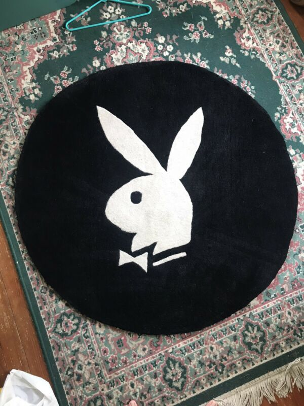 48 Inch Vintage Playboy Bunny Round Black And White Rug