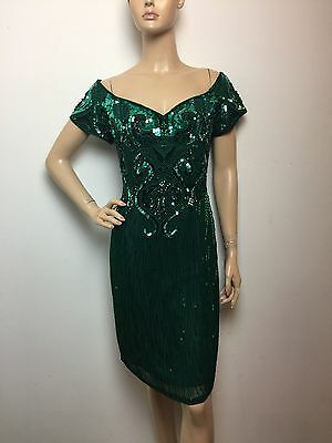 Alyce Designs Green Sequin Beaded Off Shoulder Vintage Cocktail Party Dress S/M