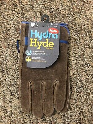 Wells Lamont Hydra Hyde Adjustable Cowhide Leather Work Gloves Size Large New