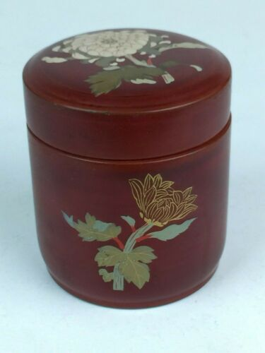 Vintage Lacquerware Hand Painted Round Trinket Box Made In Occupied Japan