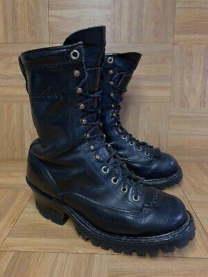 RARE🔥 Hathorn Explorer Lineman Logger Vibram Boots Sz 8 Lug Sole Black Leather