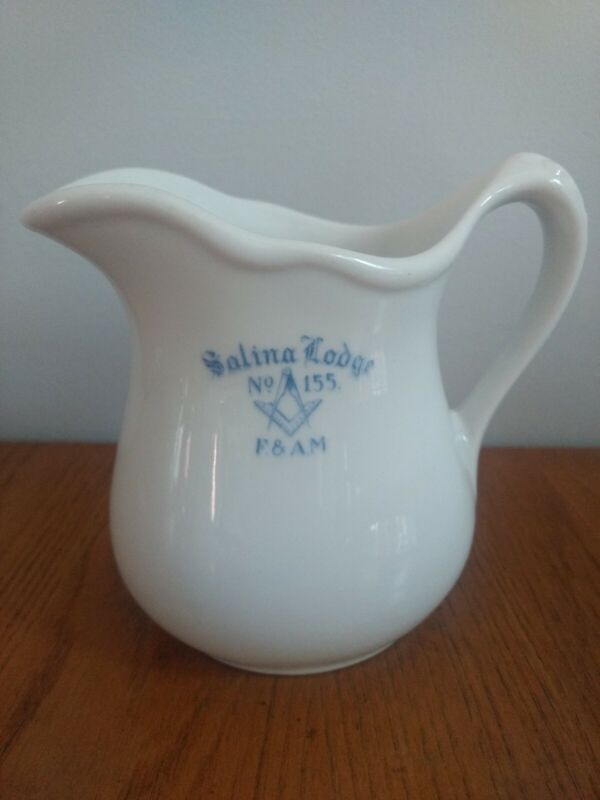 Vtg Masonic Salina Lodge #155 F & AM Creamer Pitcher Porcelain Liberty Vitrified
