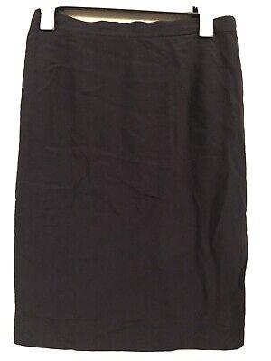Vintage Valentino Miss V Black Pencil Lined Wool Blend Skirt Size 42