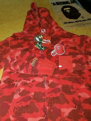 COCA-COLA BAPE MEN'S CAMO FULL ZIP HOODIE RED size XXL