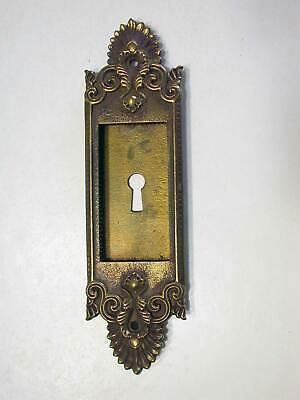 Escutcheon Plate for Pocket Door Lock, Decorative Bronze Circa 1890 Yale & Towne Locks For Pocket Doors
