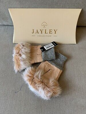 Jayley Collection Women's Leather Fur Trim Fingerless Gloves In Pale Pink/salmon