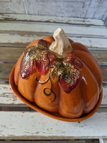 Creative Co-op pumpkin ceramic cover butter cloche dimite fall Thanksgiving cove