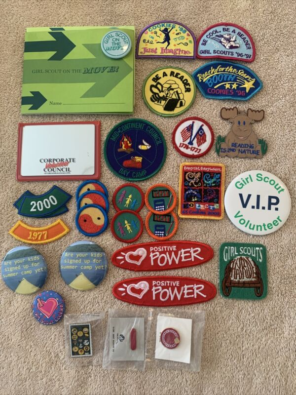 Lot of 30 Girl Scout Items- Badges, Patches, Pins Cookies Reader Harvest Camp