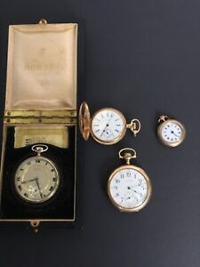 Collection of 4 Gold Pocket Watches, 1x 14k & 9k, Waltham GF