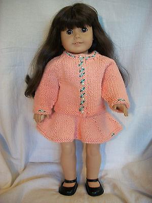 "18"" Doll Knitting Pattern fits American Girl Cotton Raglan Sweater and Skirt"