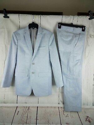 Boys 2 Button Light Blue 2pc Suit 34R  32x29 Flat Front