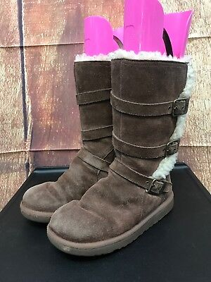 Girls UGG Brown Leather Side Zipper Maddi Boots Size 3, used for sale  Tooele