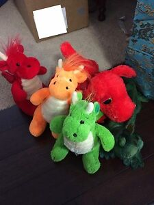 Lot of 5 stuffed dragons/lizards