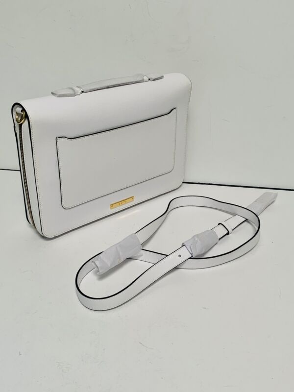 New SKITS Providence Clever White Saffiano Leather Tech Storage Bag Cover