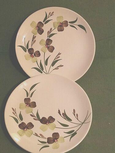 "2 Blue Ridge Southern Potteries SUNNY SPRAY Skyline Luncheon Plates 8 1/2"""