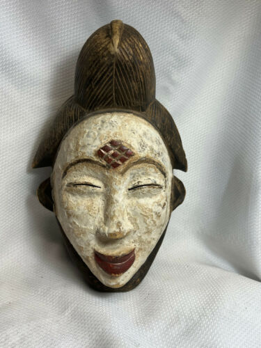 Unique Painted Face Red Lips Wood Hand Carved Tribal Mask Wall Hanging Mask