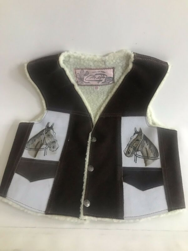 Cowboy Kids Leather Vest. Size 10, Boy Or Girls