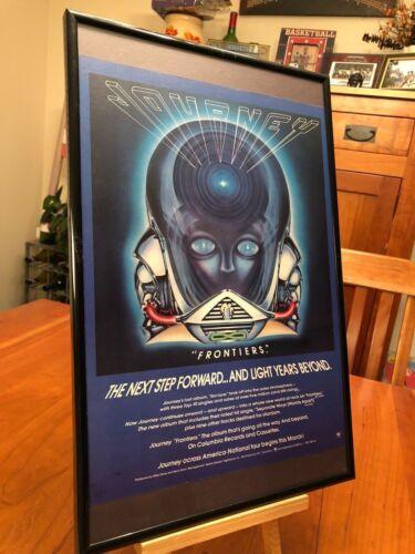 "2 BIG 11X17 FRAMED ORIGINAL JOURNEY ""FRONTIERS"" LP ALBUM CD PROMO ADS"