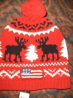 17d158188fa POLO RALPH LAUREN SKI CAP USA FLAG WOOL SKI HAT REINDEER  98 vintage style