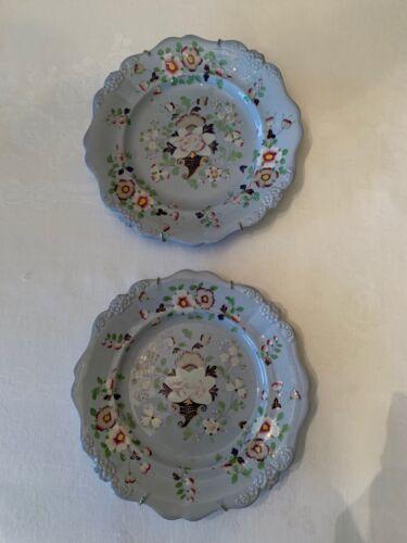 Pair of Decorative Antique Plates Powder Blue Floral