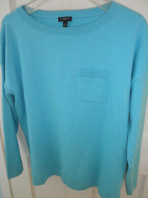 Talbots LP Petite Cotton Wool Cashmere Sweater aqua blue jewel neck 3/4 sleeves Cotton Jewel Neck Sweater
