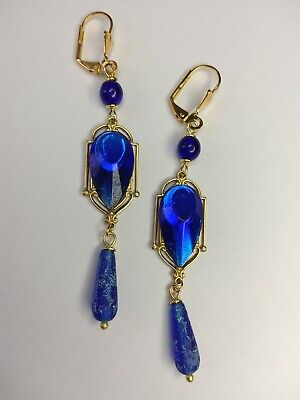 1920s Art Deco Jewelry: Earrings, Necklaces, Brooch, Bracelets Vintage West German and Czech glass art deco gold brass earrings  $22.99 AT vintagedancer.com
