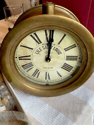 Timeworks, Inc SHABBY Brass French Town ROUND WALL CLOCK Farmhouse NEW N BX