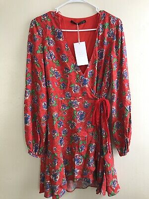 ZARA TRF Collection Floral Long Sleeve Floral Wrap Dress With Shorts Size XS