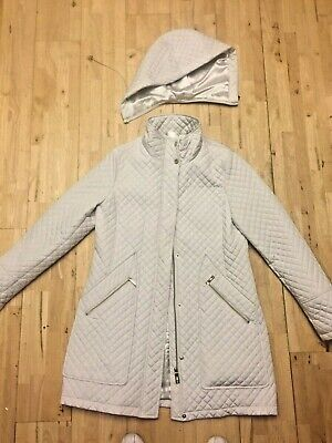 IVANKA TRUMP stylish off white lined quilted COAT size 12/14 with removable hood