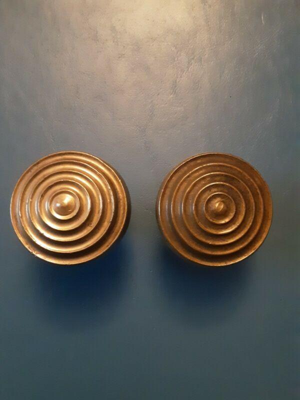 Vintage Ornate Antique Solid Brass Door Knobs.
