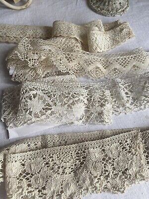 Vintage Laces Cream Cotton Laces Remnants Vintage Wedding Furnishing & Dolls 4pc