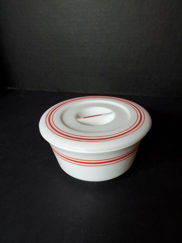 Vintage Hazel Atlas Moderntone Platonite White With Red Stripe GREASER Jar RARE