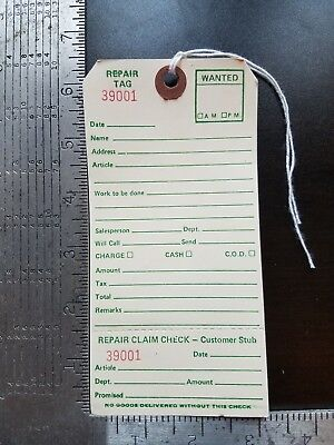 Repair Tags 100 Count 6-14 X 3-18 Reinforced Consecutively Numbered Manila