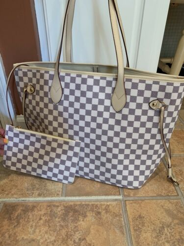 NWT!!! Daisy Rose White Vegan checkered tote Purse Bag and C