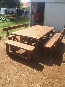 12 seater wooden table and benches Seville Grove Armadale Area Preview