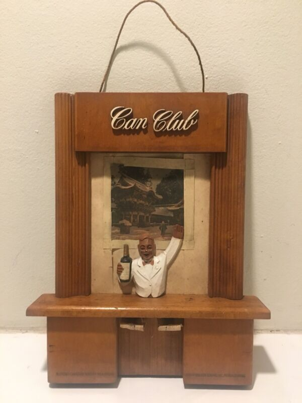 canadian club Whiskey sign 1950's Original Display Wooden Sign Bartender Rare !!