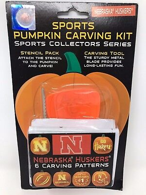 HALLOWEEN PUMPKIN CARVING KIT NEBRASKA HUSKERS SPORTS STENCILS CARVING TOOLS - Halloween Pumpkin Carvings Stencils