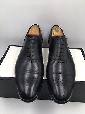 Santoni Fatte A Mano Captoe Oxford Black Leather Dress Shoes Men's Size 12D