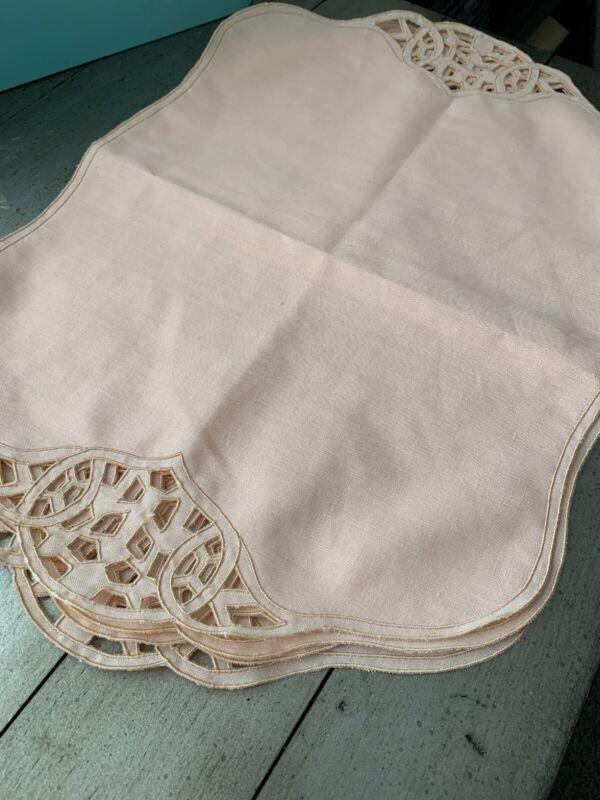 Vintage Linen Placemats Peach Cutwork