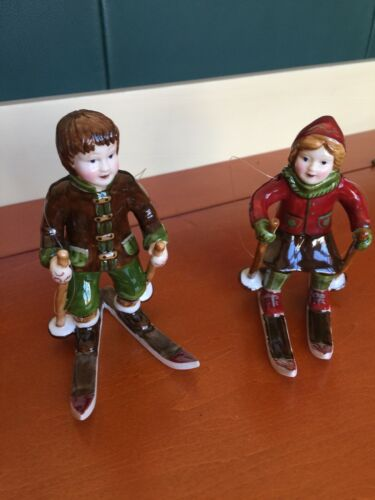 Vintage Pair of Girl and Boy Skiers Glass Christmas Ornament