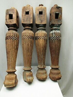 Antique Four Indian Bed Legs Indian Charpoy Old Carved Legs Furniture Khatlo