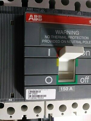 Abb 0m-2503 Circuit Breaker 150 Amp 600 Volt 4 Pole Sace S3n New No Box Take-out