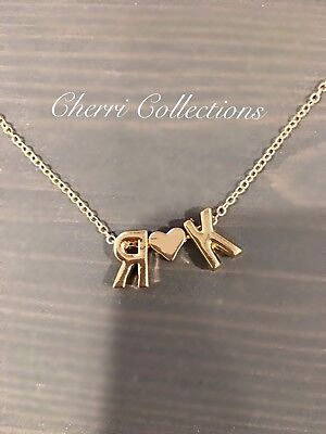 Personalized Name Necklace Custom 2 Initial Heart Couple Alphabet Gold Plated - Custom Necklace Charms